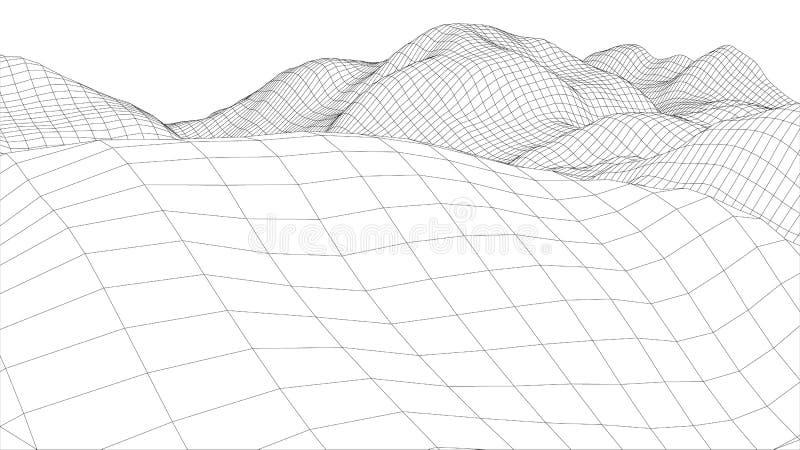 vågyttersida för wireframe 3d arkivfoto