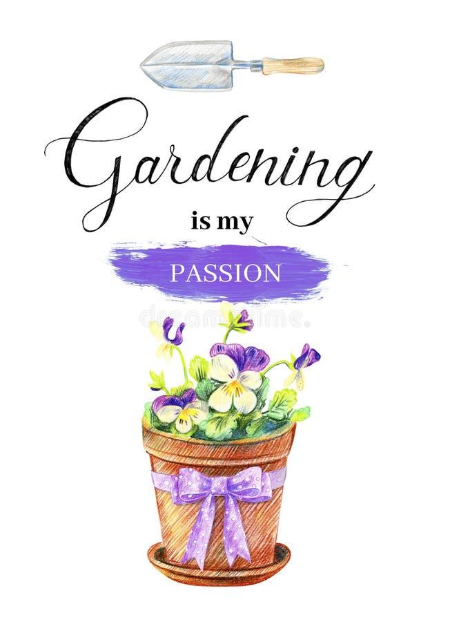 Våld i en blomkruka Att låta Gardening är min passion stock illustrationer