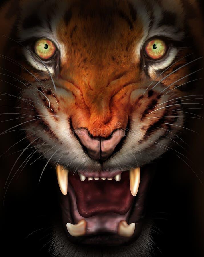 våldsam tiger stock illustrationer