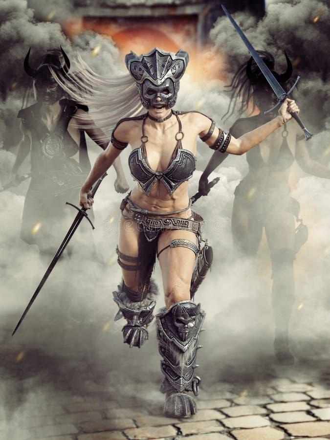 Våldsamma beväpnade barbar- kvinnliga krigare som laddar in i strid med där ledaren framme vektor illustrationer