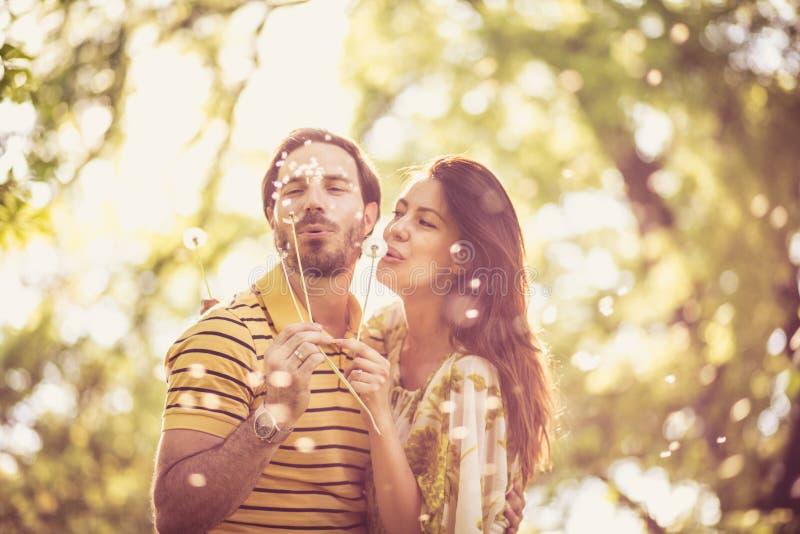 Vårögonblick Lyckliga par tycker om i natur på vårsäsongen fotografering för bildbyråer