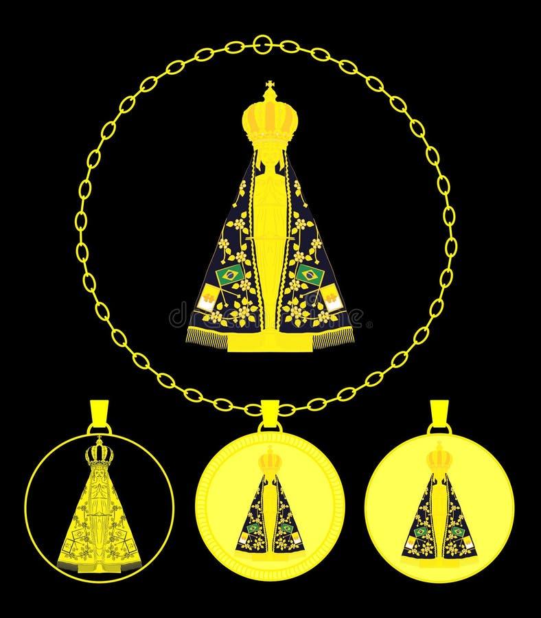 Vår dam Aparecida Gold Medal stock illustrationer