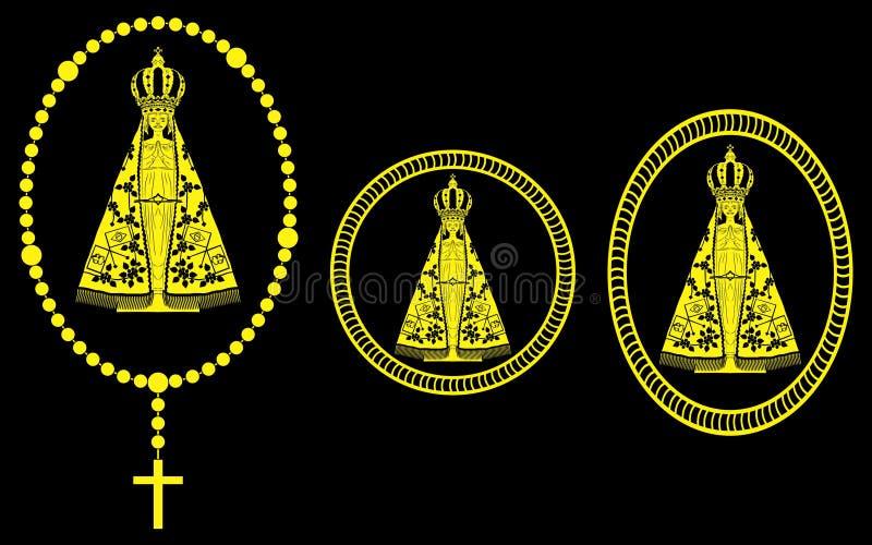 Vår dam Aparecida Gold Rosary och medalj royaltyfri illustrationer