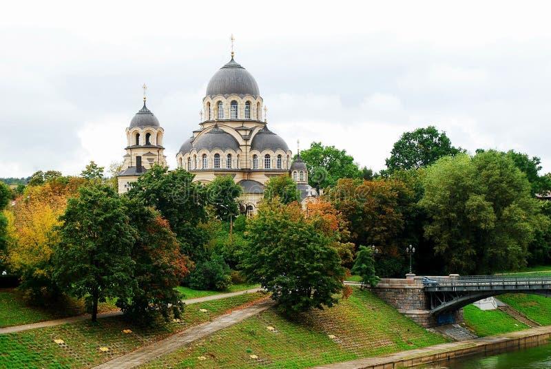 Vår dam av den ortodoxa kyrkan för tecken i Vilnius arkivfoto