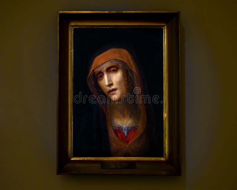 'Vår dam av sorger av Antonio Viviani som är bekant som det dövt i Pinacotaen Ambrosiana, den Ambrosian konstgallerit i Milan, It arkivfoto