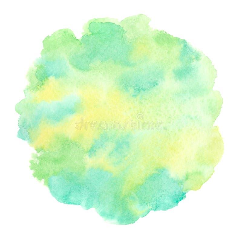 Vår eco, rund textur för strikt vegetarianvattenfärg, cirkelform stock illustrationer
