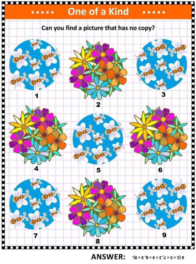 Vår eller sommarbi- och blommabildgåta stock illustrationer