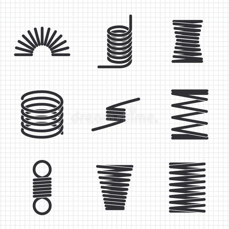 Vår för spolar för ståltråd böjlig spiral stock illustrationer