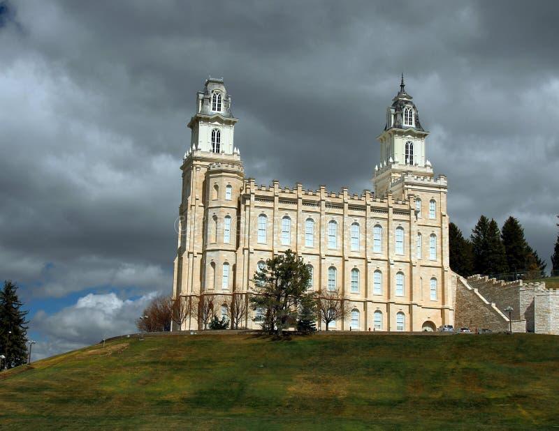 Vår för tempel för Manti Utah mormon LDS tidig fotografering för bildbyråer