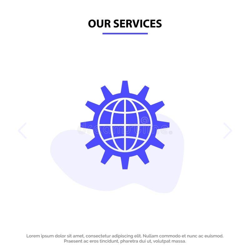 Vår globala service, affär, framkallar, utveckling, kugghjulet, arbete, för skårasymbol för värld fast mall för kort för rengörin royaltyfri illustrationer
