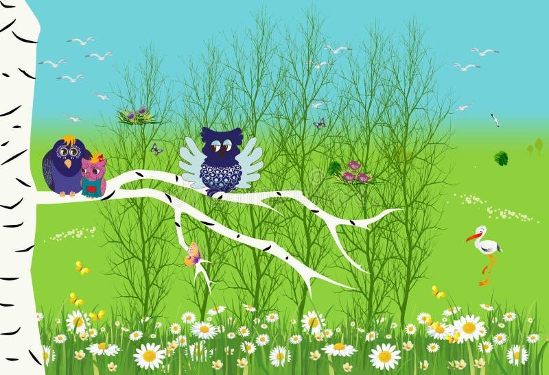 Vår i skogen, royaltyfri illustrationer