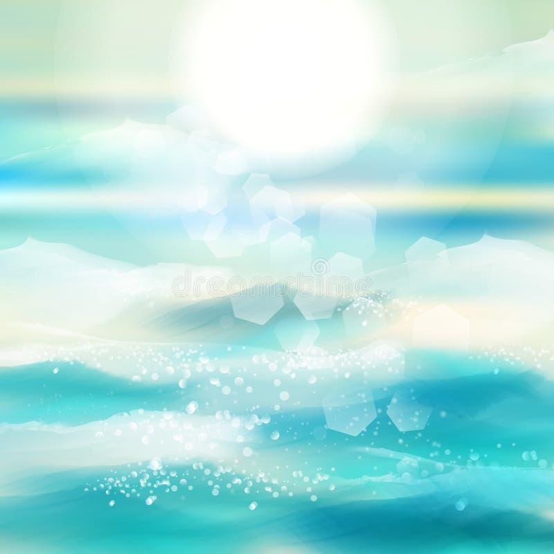 Vår och bakgrund för sommarvattenfärghav med glänsande gnistor och bokeh Vektorillustration, grafisk design som är redigerbar för royaltyfri illustrationer