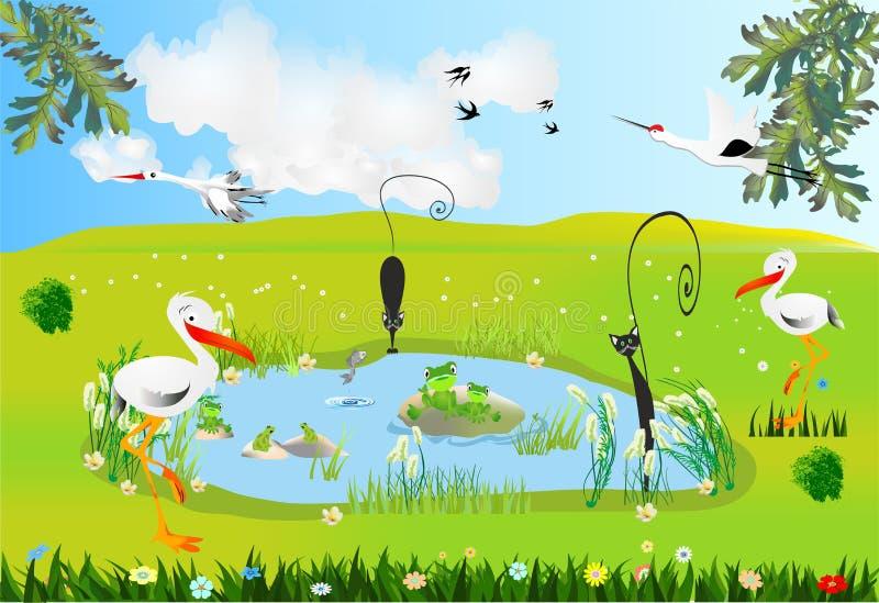 Vår på dammet royaltyfri illustrationer