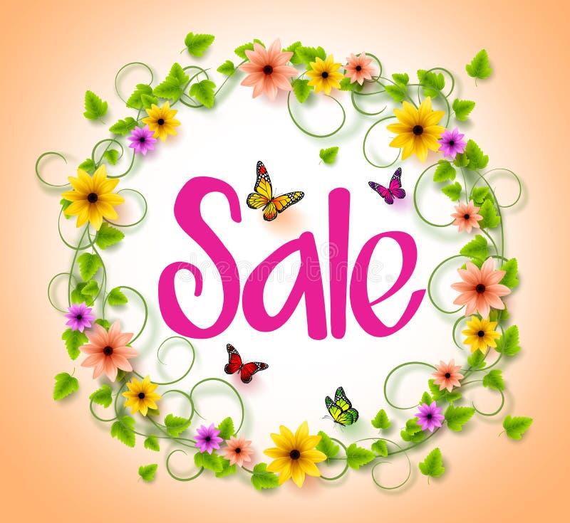 Vår Sale i en cirkelkrans av färgrika blommor, vinrankor och sidor royaltyfri illustrationer