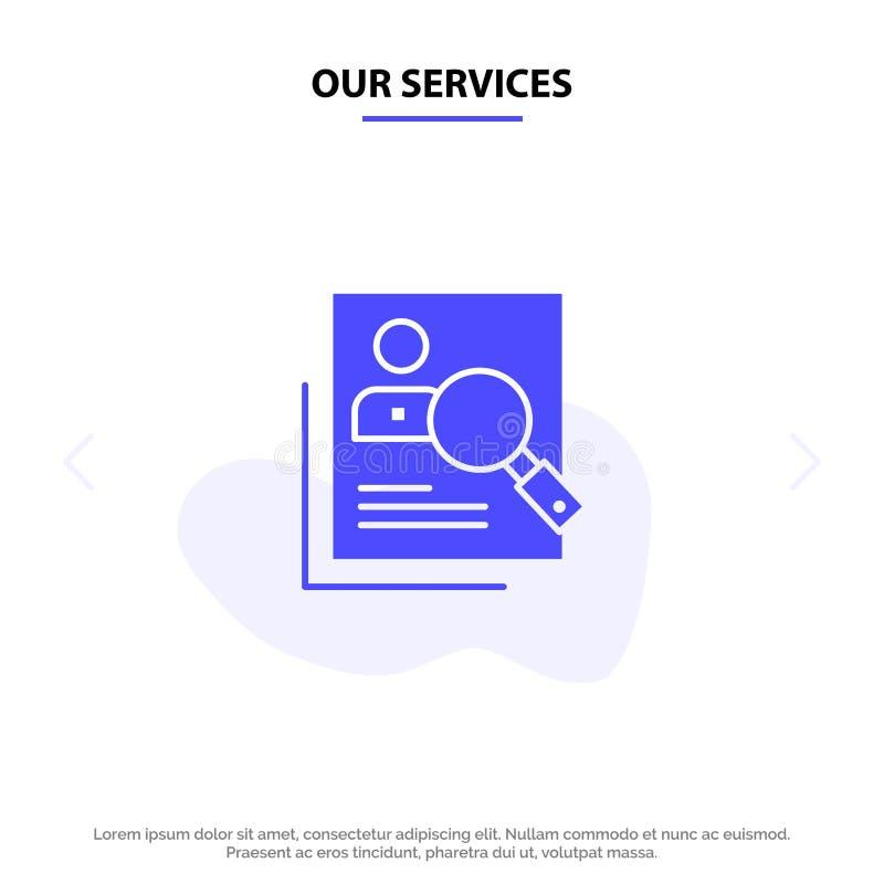 Vår service anställd, timme som är mänsklig, jakt som är personlig, resurser, meritförteckning, för skårasymbol för sökande fast  vektor illustrationer