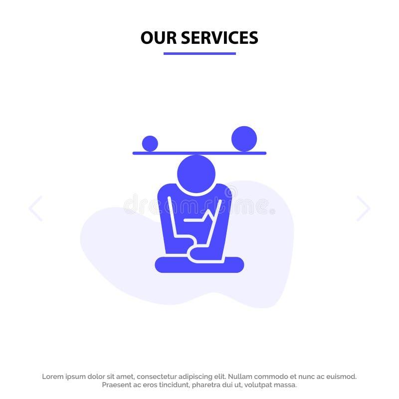 Vår service balanserar, koncentration, meditationen, meningen, för skårasymbol för Mindfulness fast mall för kort för rengöringsd royaltyfri illustrationer