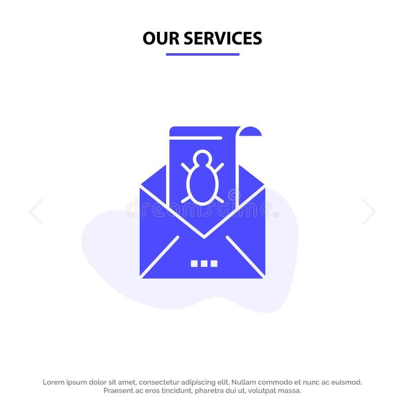 Vår service buggar, Emails, emailen, Malware, skräpposten, hotet, för skårasymbol för virus fast mall för kort för rengöringsduk vektor illustrationer