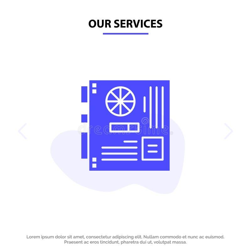 Vår service dator, strömförsörjning, Mainboard, moder, för skårasymbol för moderkort fast mall för kort för rengöringsduk stock illustrationer