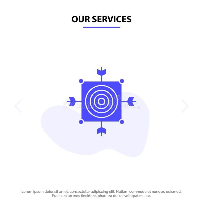 Vår service fokuserar, stiger ombord, kasta sig, pilen, för skårasymbol för mål fast mall för kort för rengöringsduk stock illustrationer