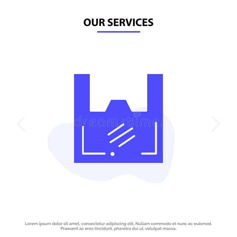 Vår service hänger löst, ekologi, plast-, shopparen, för skårasymbol för supermarket fast mall för kort för rengöringsduk vektor illustrationer