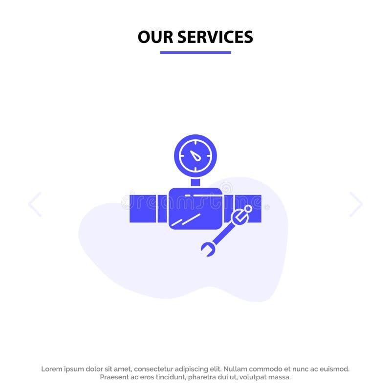 Vår service leda i rör, byggnad, konstruktion, reparationen, Gage Solid Glyph Icon Web kortmall vektor illustrationer