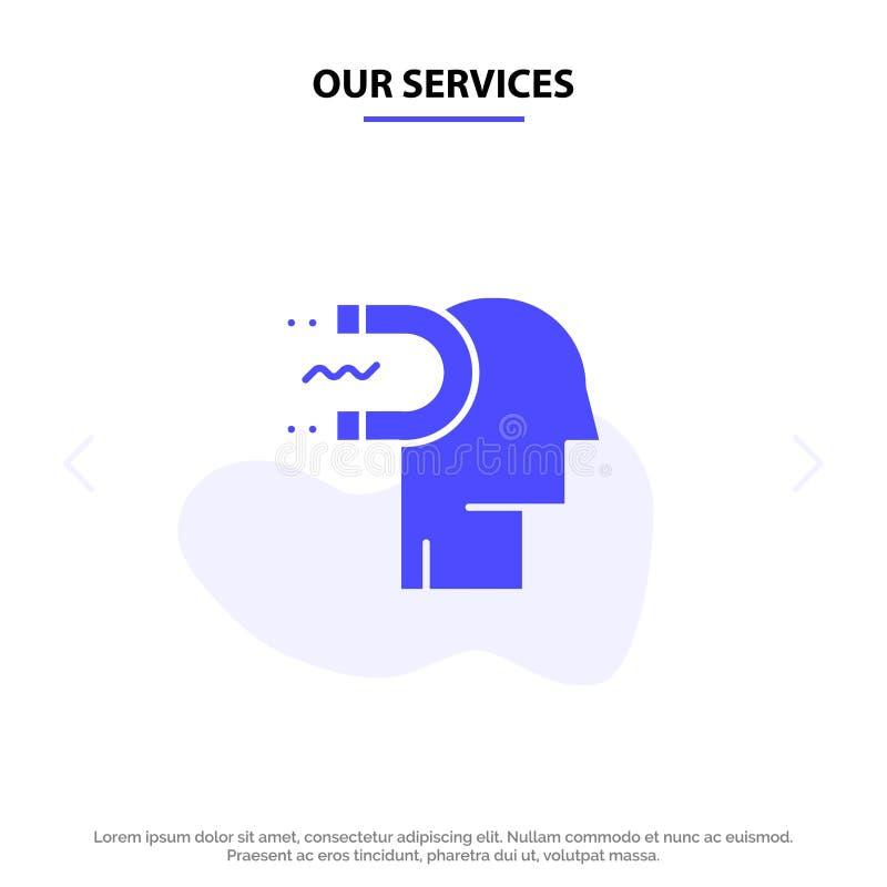 Vår service makt, påverkan, koppling, människa, påverkan, för skårasymbol för ledning fast mall för kort för rengöringsduk stock illustrationer