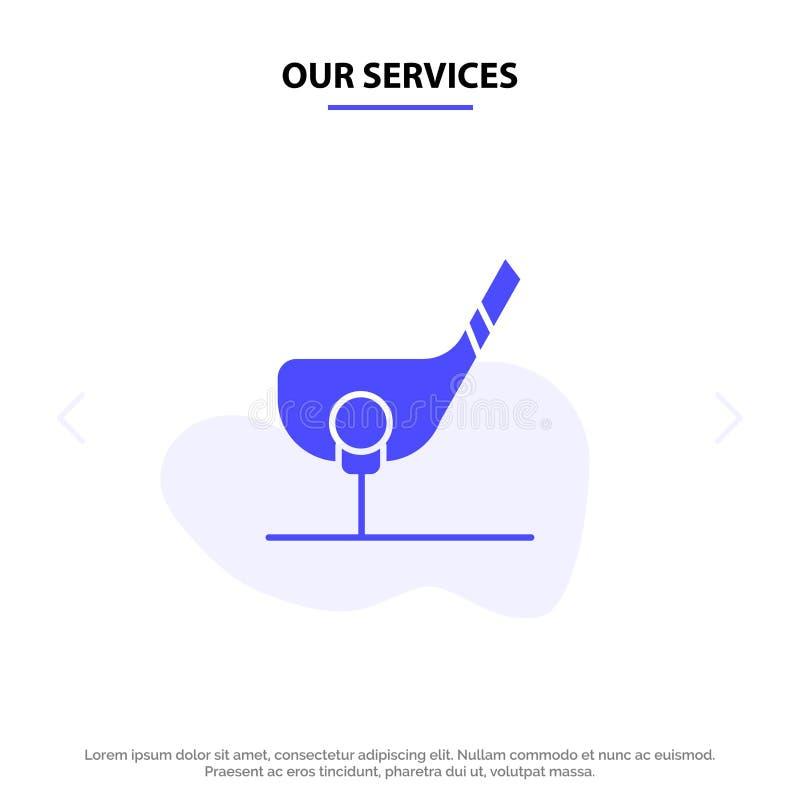 Vår service siktar, klumpa ihop sig, klubbar, golf, för skårasymbol för skott fast mall för kort för rengöringsduk stock illustrationer