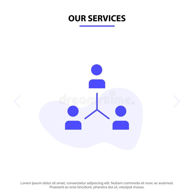 Vår Service Strukturera, Företag, samarbete, grupp, hierarki, folk, Team Solid Glyph Icon Web kortmall vektor illustrationer