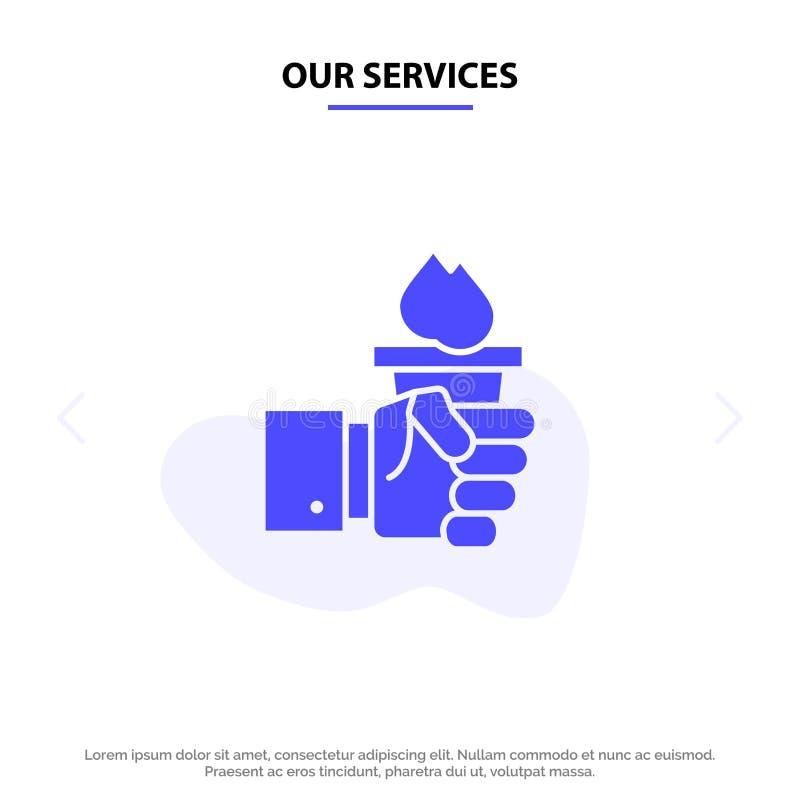 Vår serviceaffär, hand, ledare, ledarskap, olympisk fast mall för kort för skårasymbolsrengöringsduk vektor illustrationer