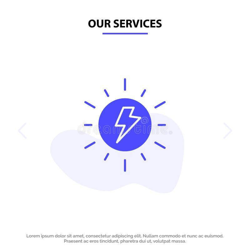 Vår serviceenergi, som är sol-, sol, för skårasymbol för laddning fast mall för kort för rengöringsduk stock illustrationer