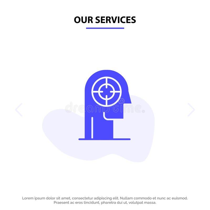 Vår servicepil, koncentration, fokus, huvud, mänsklig fast mall för kort för skårasymbolsrengöringsduk royaltyfri illustrationer