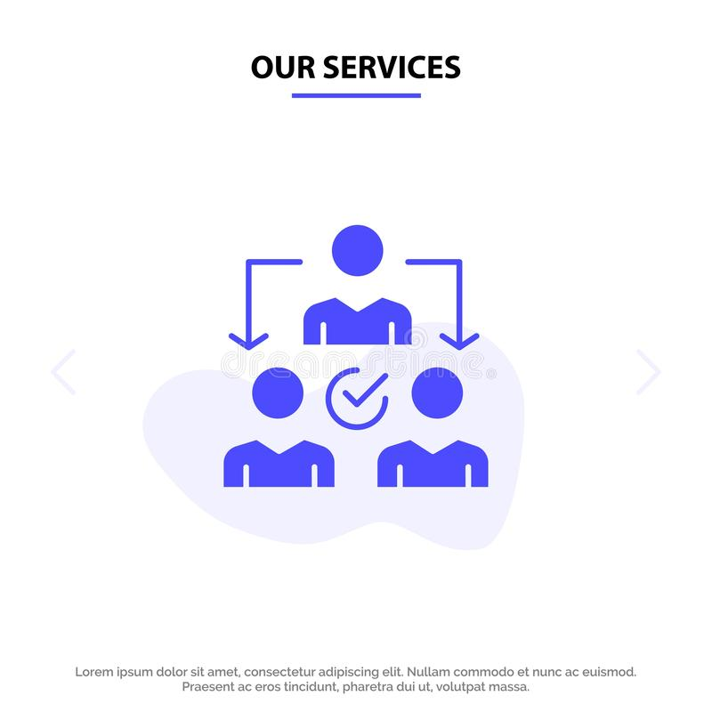 Vår serviceuppgift, delegat som delegerar, för skårasymbol för fördelning fast mall för kort för rengöringsduk royaltyfri illustrationer