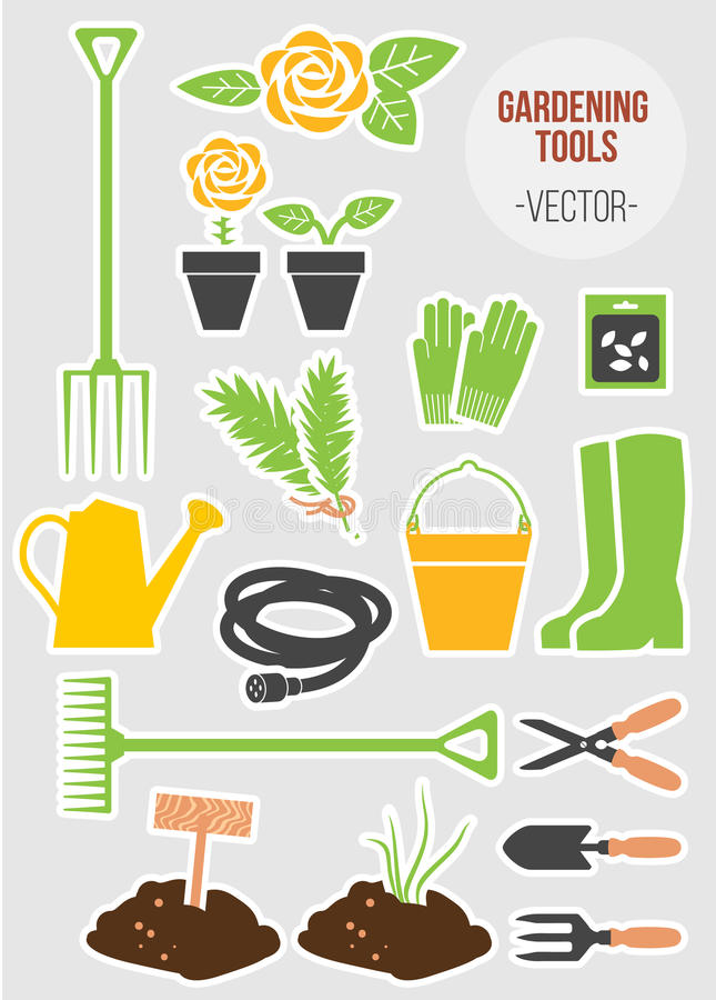 Vår som arbeta i trädgården hjälpmedeluppsättningen, vektorillustration vektor illustrationer