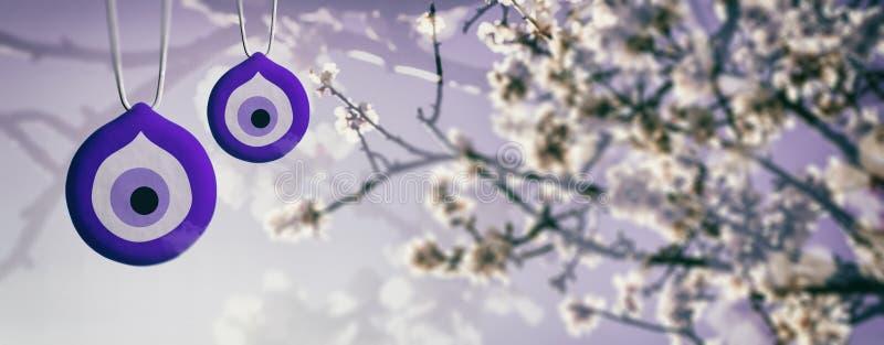 Vår som blommar, ont öga Berlock för bra lycka och mandel eller körsbärsrött träd som blommar, baner illustration 3d royaltyfri illustrationer
