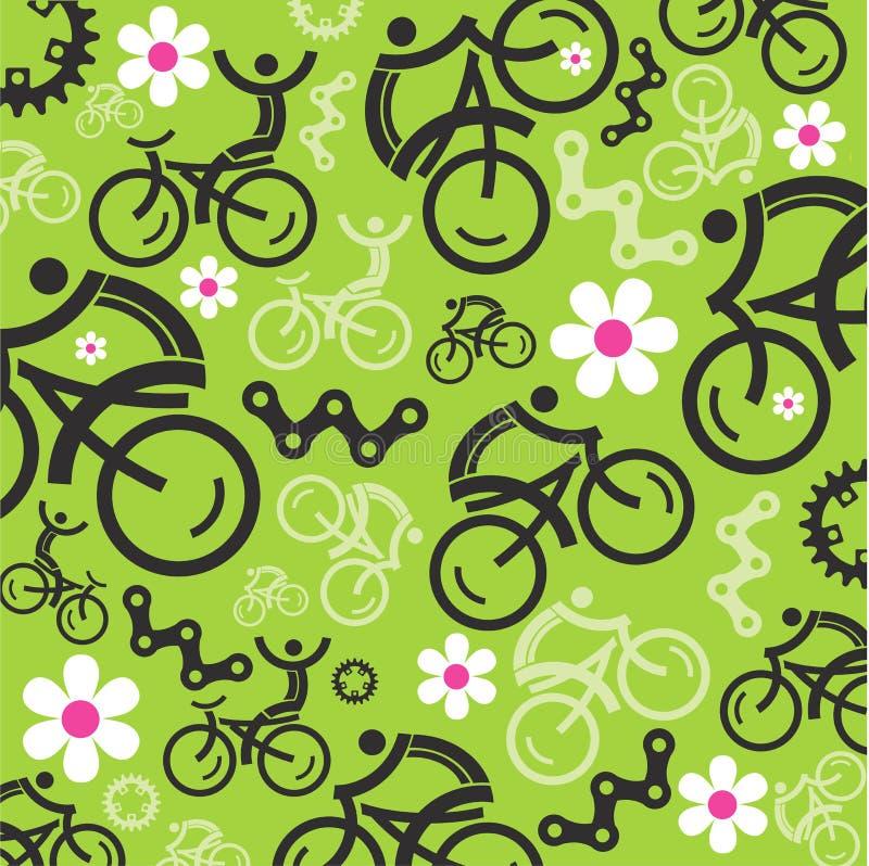 Vår som cyklar dekorativ bakgrund stock illustrationer