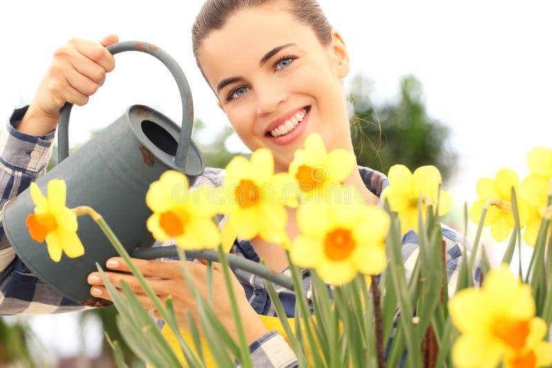 Vår som ler kvinnan i trädgård som bevattnar blommor royaltyfri bild