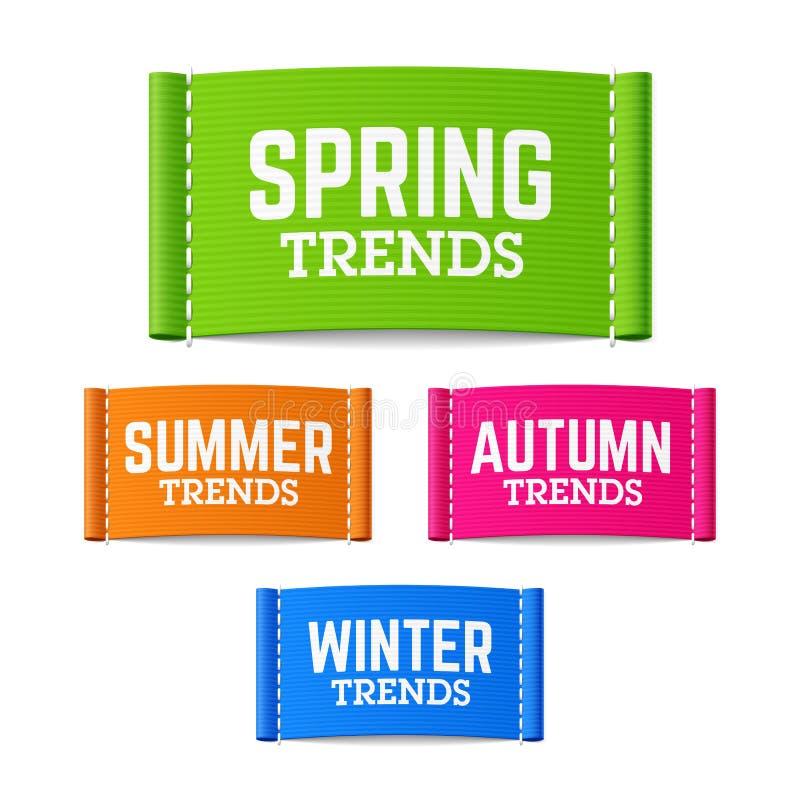 Vår-, sommar-, höst- och vintertrendetiketter vektor illustrationer