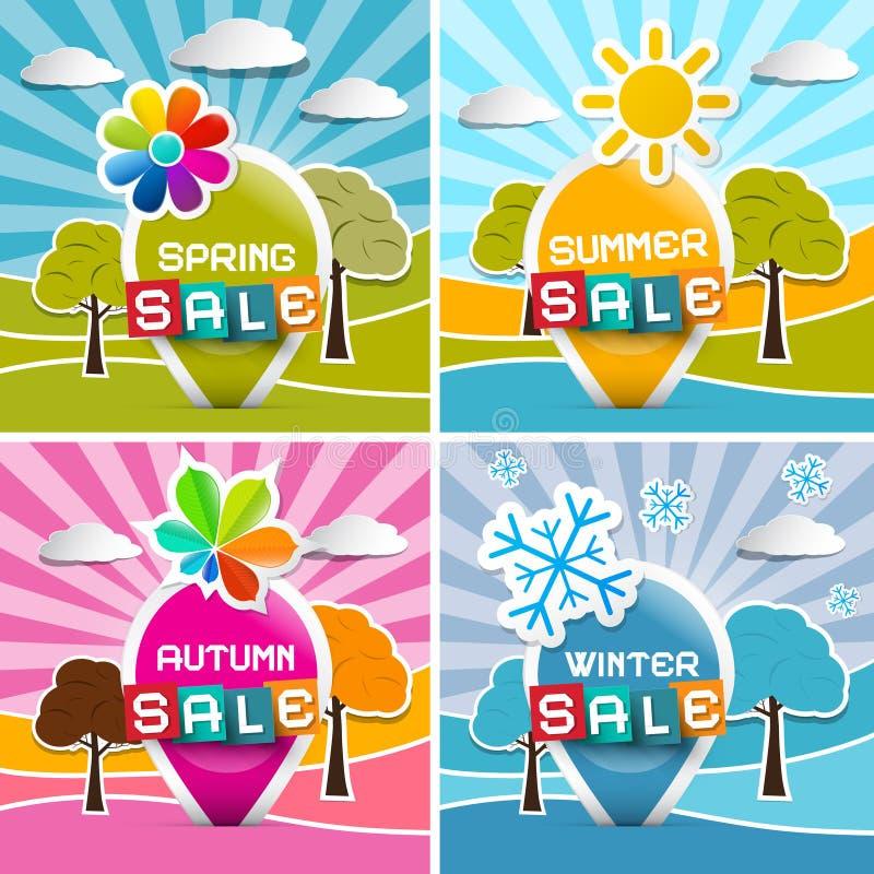 Vår - sommar - höst - vinter Sale vektor illustrationer