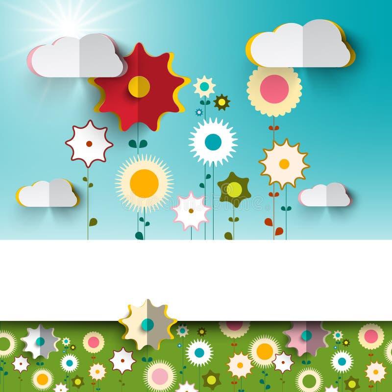 Vår - sommar Sunny Flowers på trädgård royaltyfri illustrationer