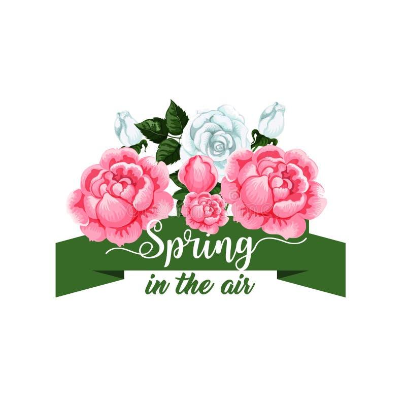 Vår steg symbolen för tid för blommavektorvåren royaltyfri illustrationer