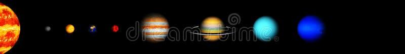 Våra åtta planeter av solsystemet arkivfoto