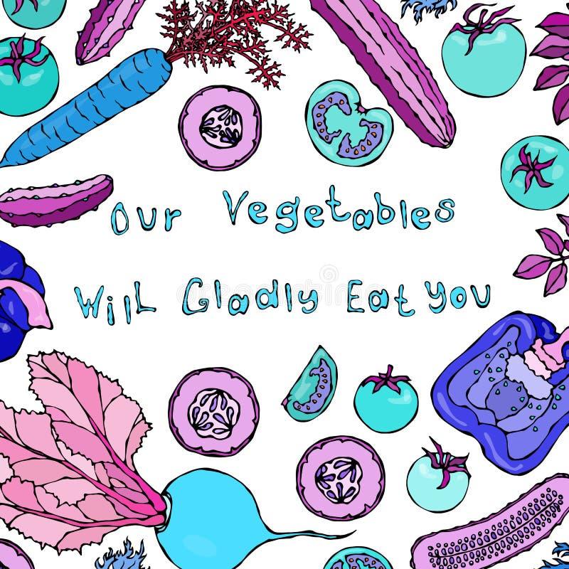 Våra grönsaker ska äta gärna dig bokstäver Galen spansk peppar Caroot för taktgurkatomater Rov- grönsaker vektor illustrationer