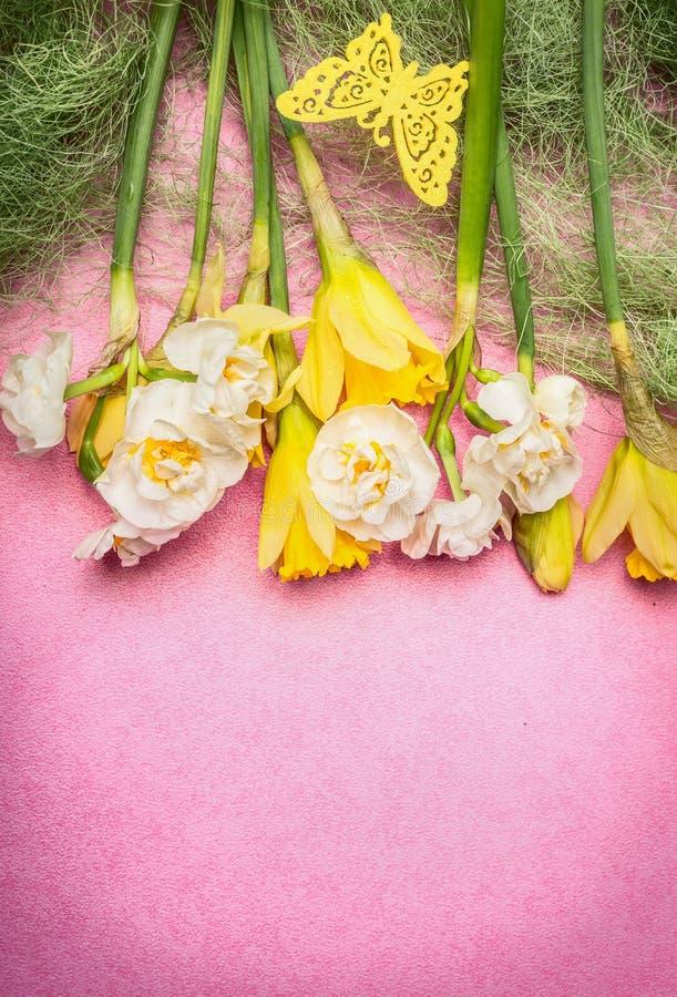 Vårbakgrund med den olika påskliljablommor och dekoren på rosa bakgrund, bästa sikt arkivbilder