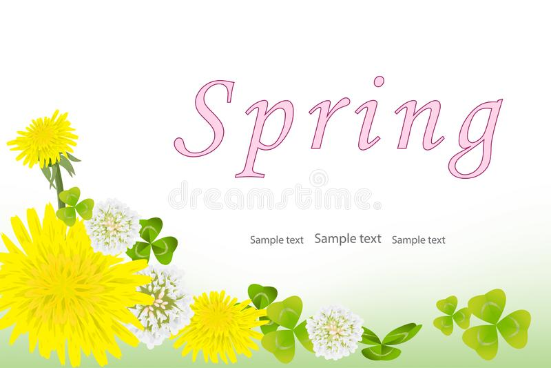 Vårbakgrund med gula maskrosblommor, vit växt av släktet Trifolium och växt av släktet Trifoliumsidor stock illustrationer