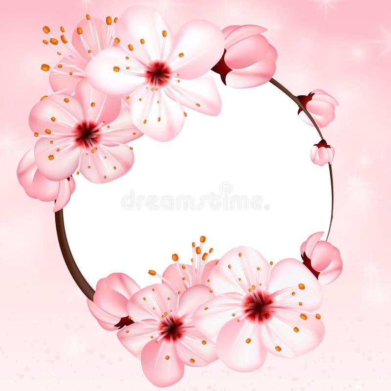 Vårbakgrund med rosa färgblomningblommor Illustration för vektor 3d Härligt vernal blom- baner, affisch, reklamblad vektor illustrationer