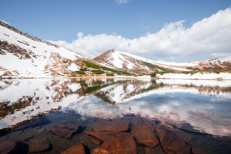 Vårbergsjö med klart vatten arkivbild