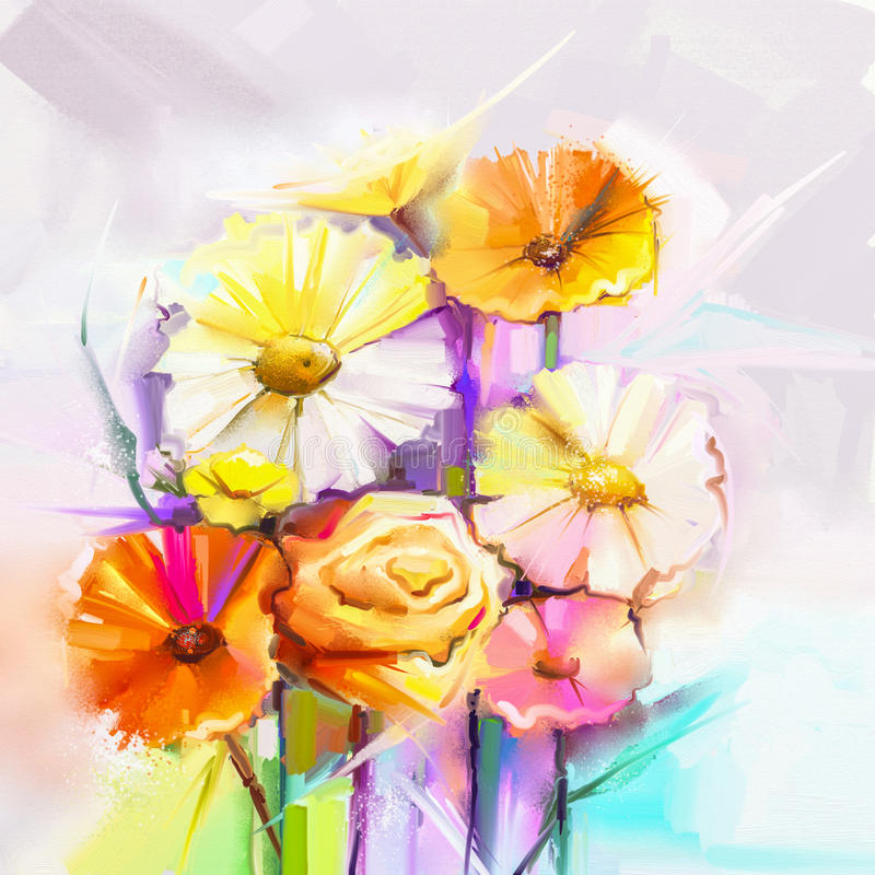 Vårblomma för olje- målning Stilleben av guling, rosa färger, den röda gerberaen och den rosa buketten vektor illustrationer