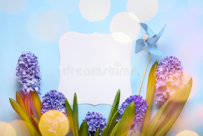 Vårblomma med hälsningkortet royaltyfria foton