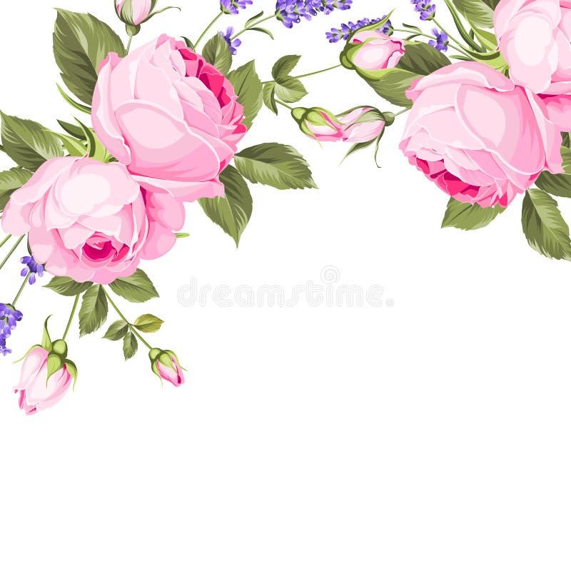 Vårblommabukett av färgknoppgirlanden Etiketten av lavendel med steg blommor royaltyfri illustrationer