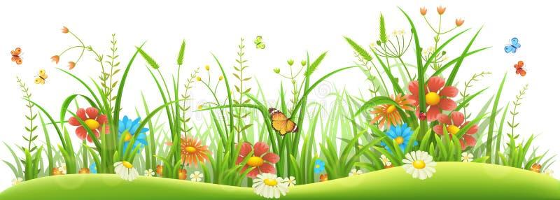 Vårblommor och gräs stock illustrationer